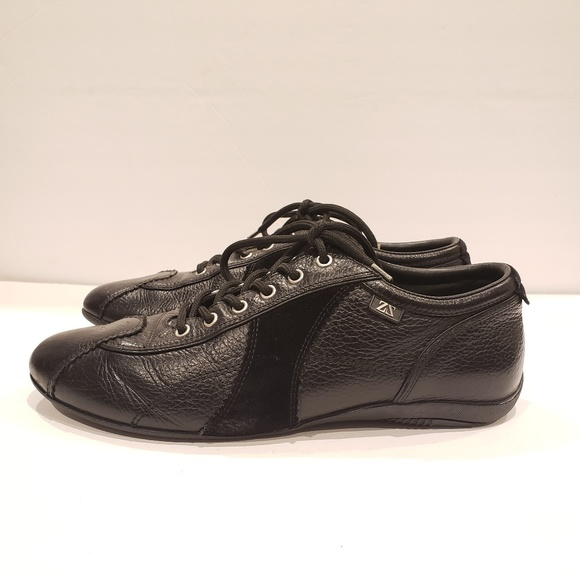 1b61abb6 Zegna sport men's sneakers black leather 8.5